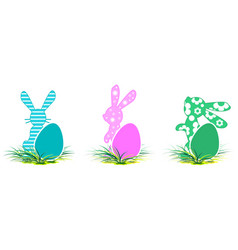 rabbit and colored egg symbol of easter set vector image