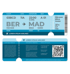 Realistic boarding pass airplane ticket template vector