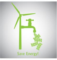 Save energy wind turbine and money vector