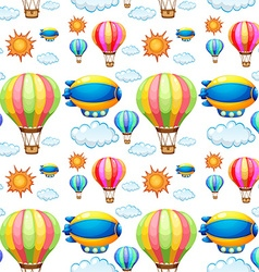 Seamless background with balloons in the sky vector