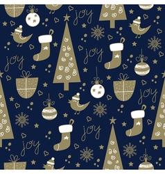 seamless christmas pattern dark vector image