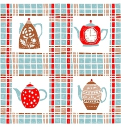 Seamless pattern in lino style teapots pastel vector