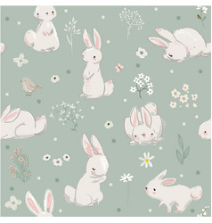 seamless pattern with cute hares with balloons vector image