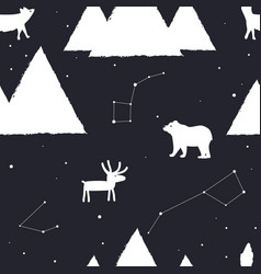 seamless pattern with stars mountains and vector image