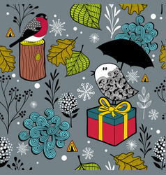seamless winter pattern with cute doodle birds in vector image