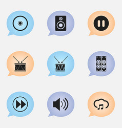 Set of 9 editable song icons includes symbols vector
