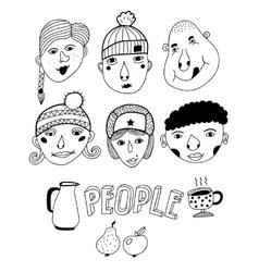 Set of doodle faces vector