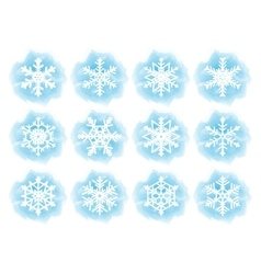 Set of flat snowflake icons vector image