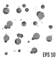 set of grey splash on white background grunge ink vector image