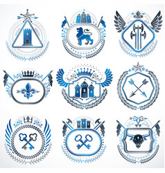set of old style heraldry emblems vintage vector image