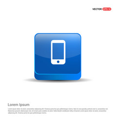 smartphone icon - 3d blue button vector image
