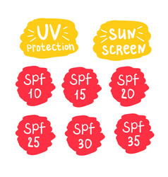 spf uv sun screen protection icons set vector image