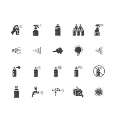 spray can flat glyph icons set hand with aerosol vector image
