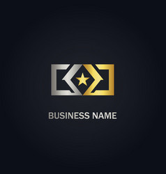 Star emblem square company gold logo vector