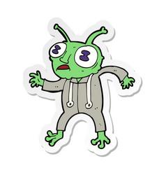 Sticker of a cartoon alien spaceman vector
