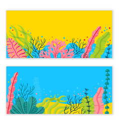stylish sea bottom background with seaweeds and vector image