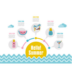 Summer icon summertime vacation infographics vector