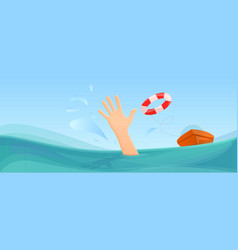 Swimming take help life buoy concept banner vector