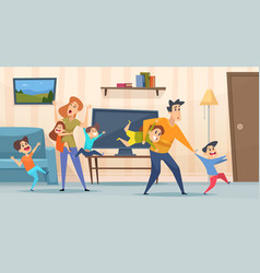tired parents mother and father playing with kids vector image