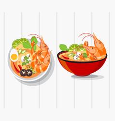 Tom yum kung thai spicy soup thai food vector