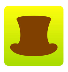 top hat sign brown icon at green-yellow vector image