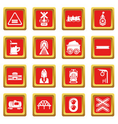 Train railroad icons set red square vector