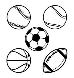 various cartoon stylized american sports balls vector image