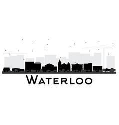 Waterloo iowa city skyline black and white vector
