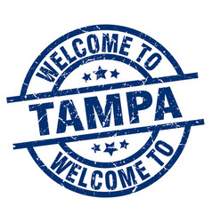 Welcome to tampa blue stamp vector