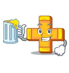 with juice retro plus sign addition symbol cartoon vector image