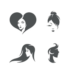 Women faces symbols set vintage vector