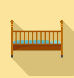 wood baby bed icon flat style vector image