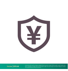 yen money shield icon logo template design eps 10 vector image