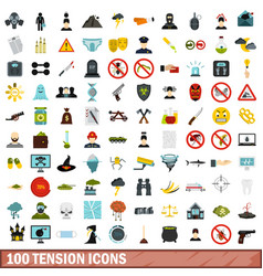 100 tension icons set flat style vector image