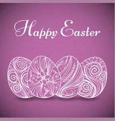 card with easter eggs with line art on purple vector image vector image