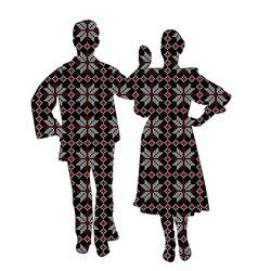 folklore dancers in patterned ethnic motifs vector image
