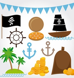 Marine Pirate set on white background vector image