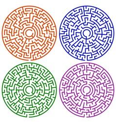 Round maze set vector image