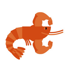 strong athlete shrimp powerful athlete plankton vector image vector image
