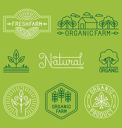 agriculture and organic farm line logos vector image vector image