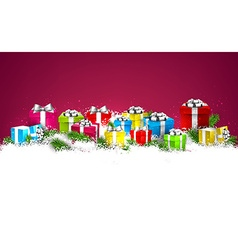 Christmas background with colorful gift boxes vector image vector image