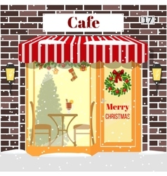 Christmas decorated Cafe or coffee shop Building vector image