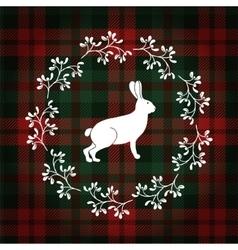 Christmas greeting card invitation white rabbit vector