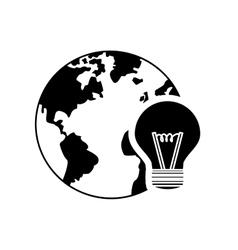 earth globe lightbulb icon vector image
