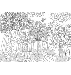 Fantasy forest for coloring book vector