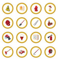 firefighter cartoon icon circle vector image