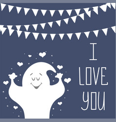 i love you postcard phrase for valentine s day vector image vector image