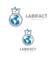 Logo combination of a earth and lab vector