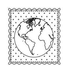monochrome contour frame of world map with vector image