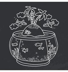 paradise island in fish tank vector image